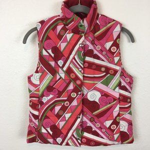 Bold Abstract Size Large Girl's Pink Puffer Vest